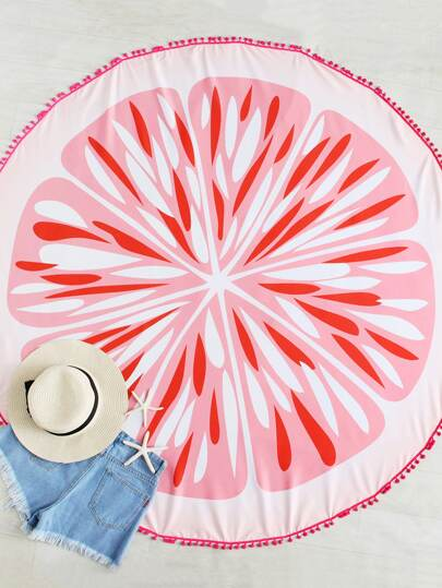 Pom Pom Edge Grapefruit Print Beach Roundie