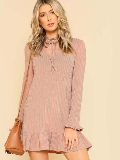Lace Up Ruffle Cuff And Hem Dress
