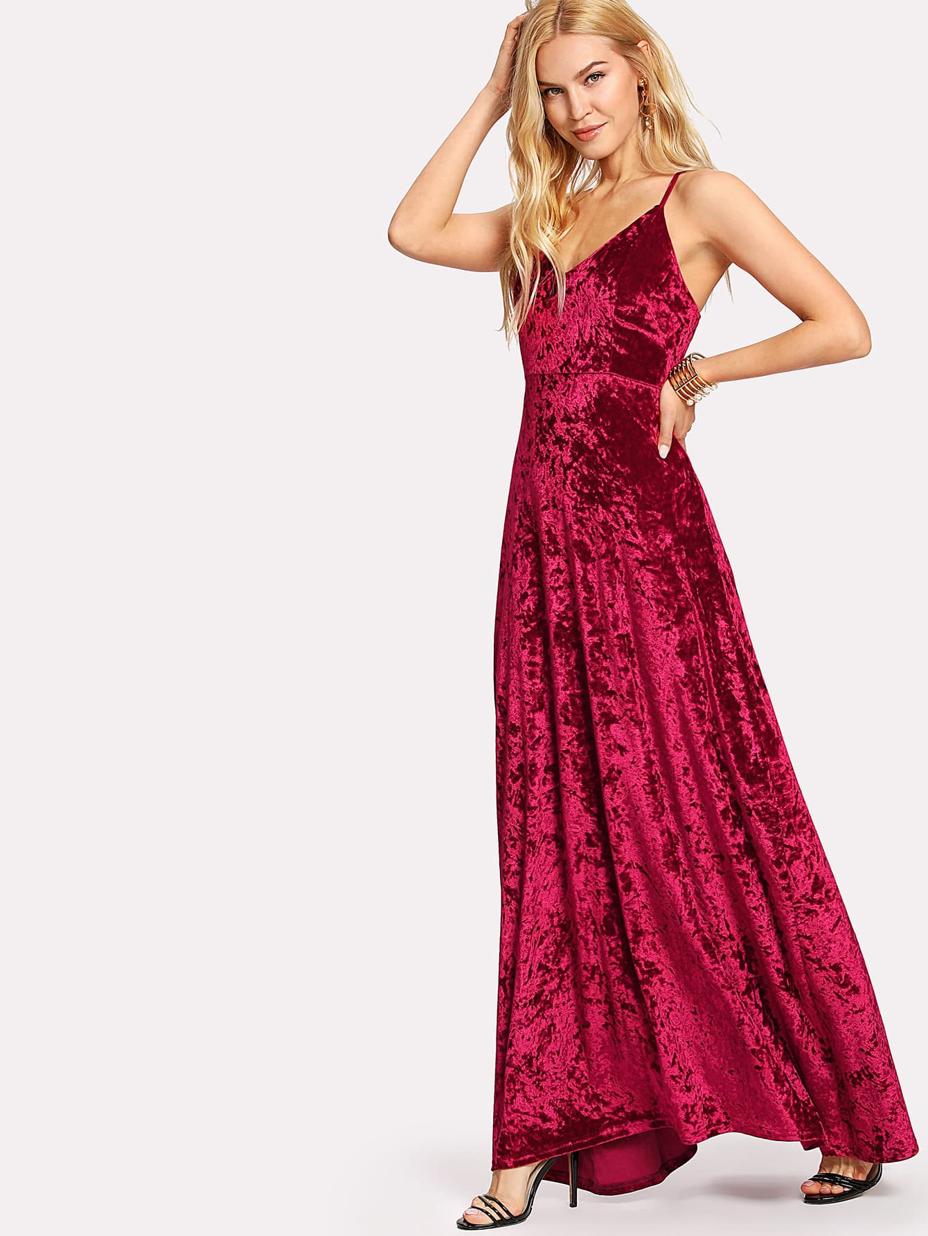 Lace Up Back Crushed Velvet Cami Dress cami velvet casual maxi dress