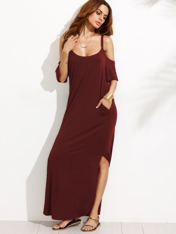 Pocket Open Shoulder Split Full Length Dress pocket full length tee dress page 8