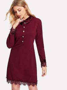 Contrast Velvet Guipure Lace Trim Dress