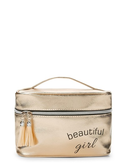 Metallic Letter Print Cosmetic Bag