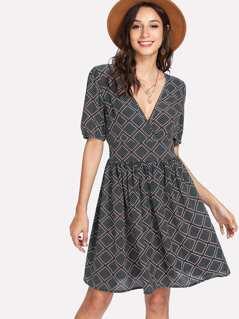 Tied Back Geo Print Dress