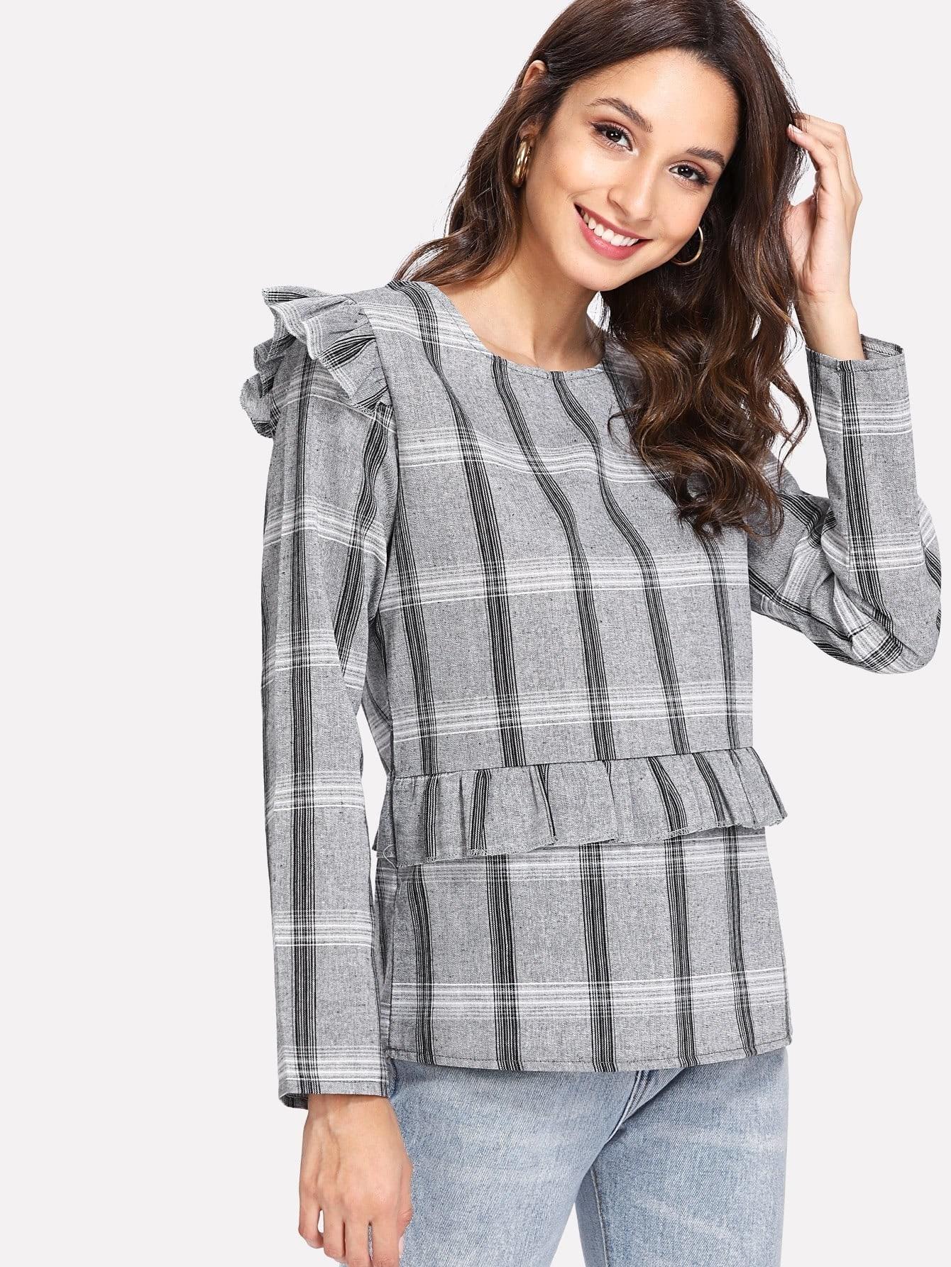 Ruffle Trim Plaid Blouse drawstring front ruffle plaid blouse