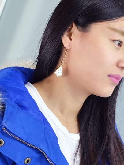 Marble Stone Geometric Shape Hanging Earrings