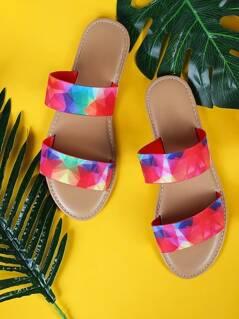 Geometric Dual Band Sandals FUCHSIA