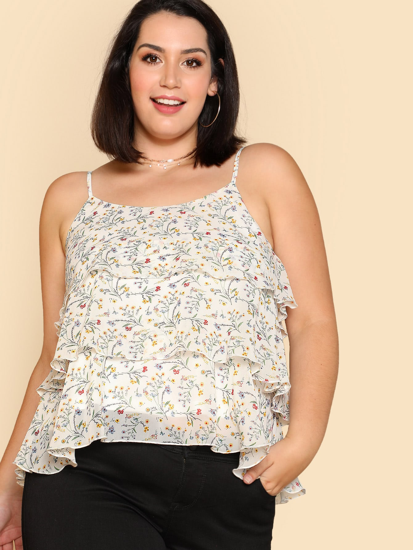 Ditsy Print Tiered Cami Top oblique shoulder layered frill ditsy top
