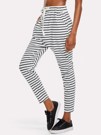 Drawstring Waist Striped Print Harem Pants