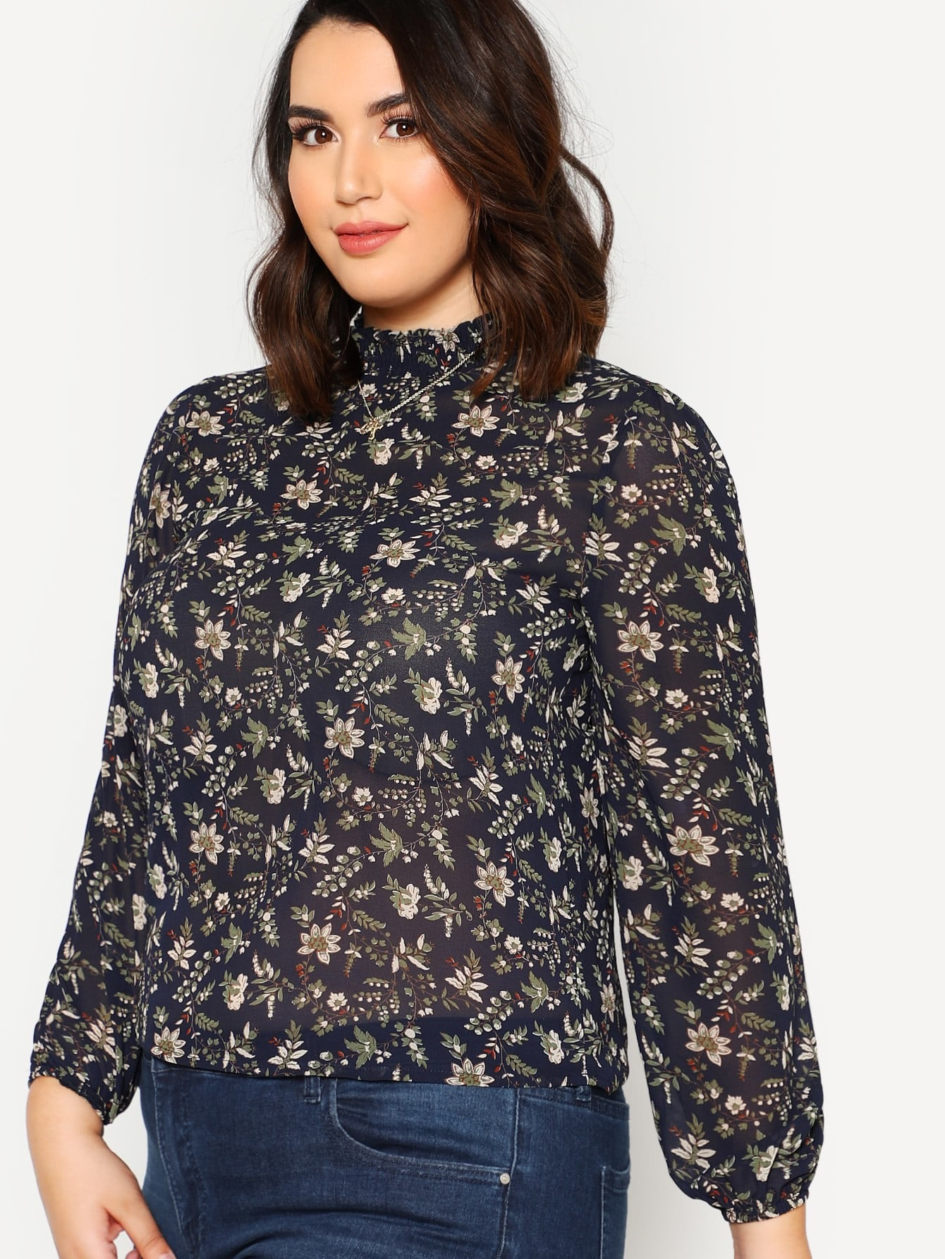 High Neck Floral Print Tunic Top