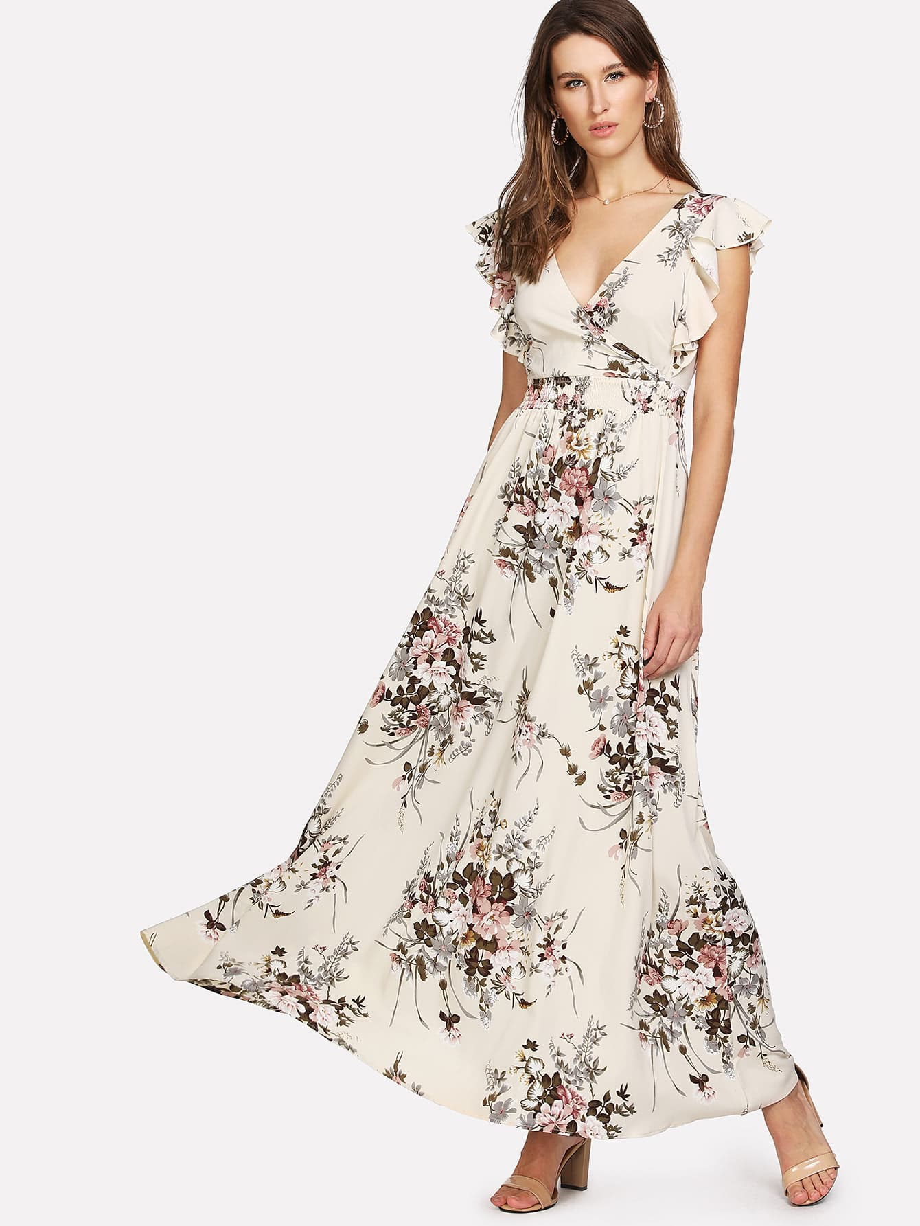 цена на Ruffle Trim Surplice Wrap Floral Dress