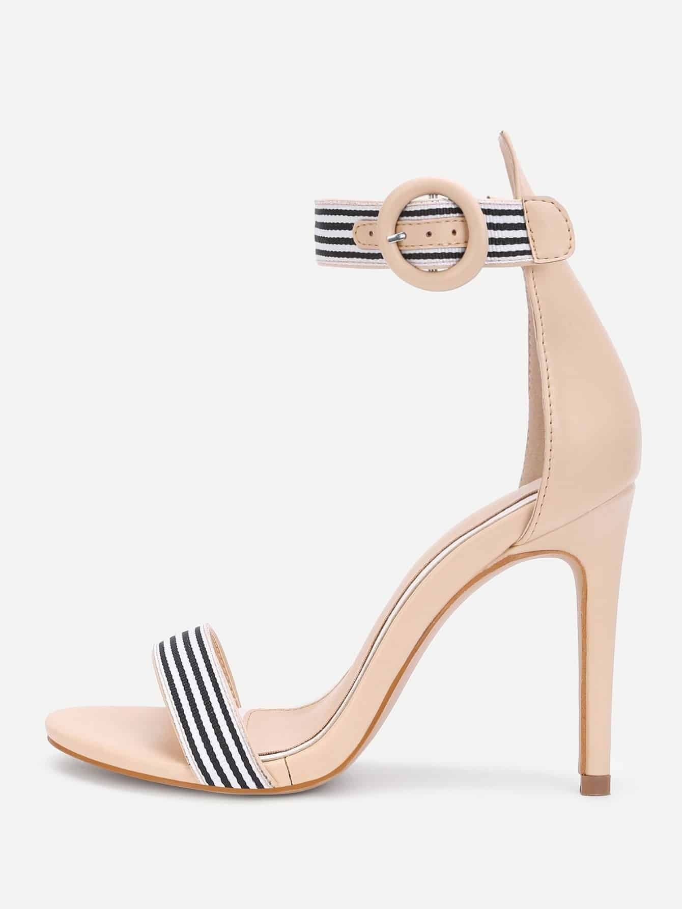 Striped Design Two Part Heeled Sandals