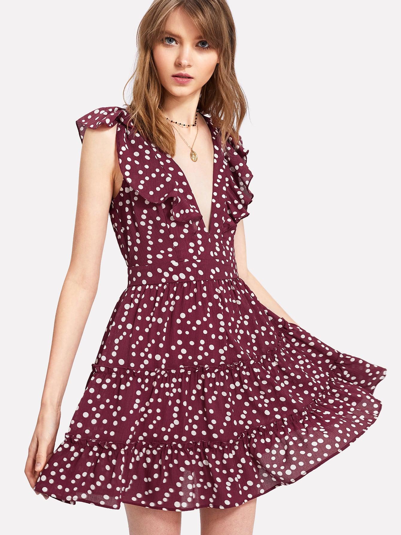 Ruffle Trim Tiered Plunging Polka Dot Dress ruffle trim belted polka dot dress
