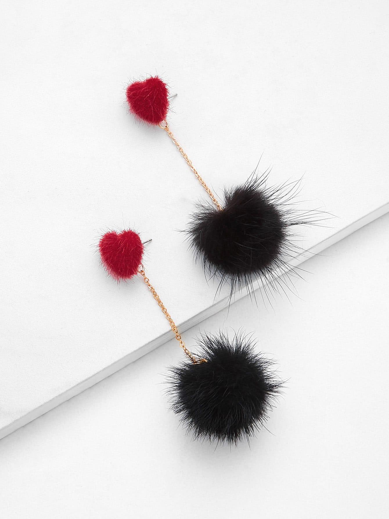 Heart Top Chain Pom Pom Drop Earrings pom pom drop earrings