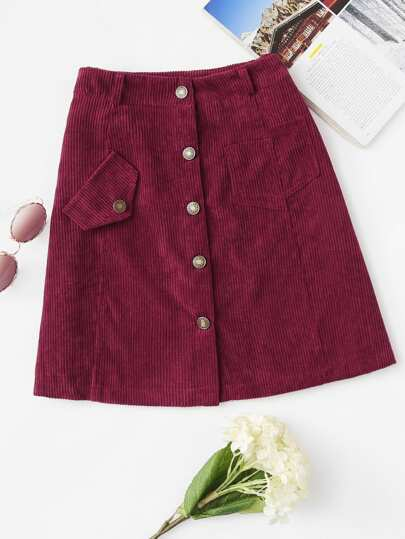 Corduroy Single Breasted Skirt