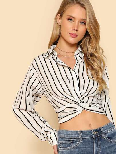 Striped Tie Front Buttondown Shirt WHITE BLACK