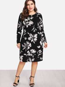 Flower Print Form Fitting Dress