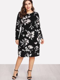Plus Flower Print Form Fitting Dress