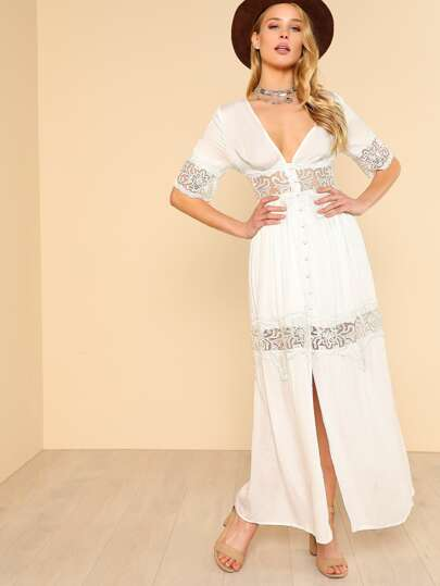 Button Down Lace Inset Maxi Dress WHITE