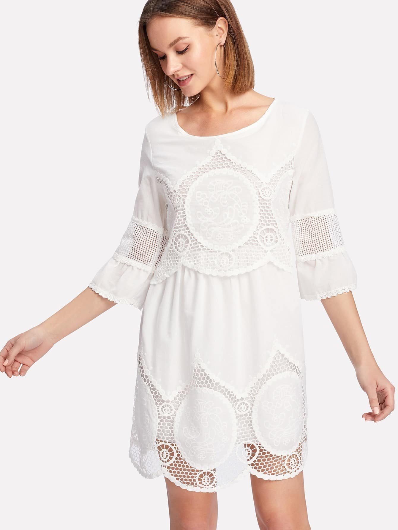 Hollow Out Crochet Panel Dress роборыбка zuru клоун 2501 4