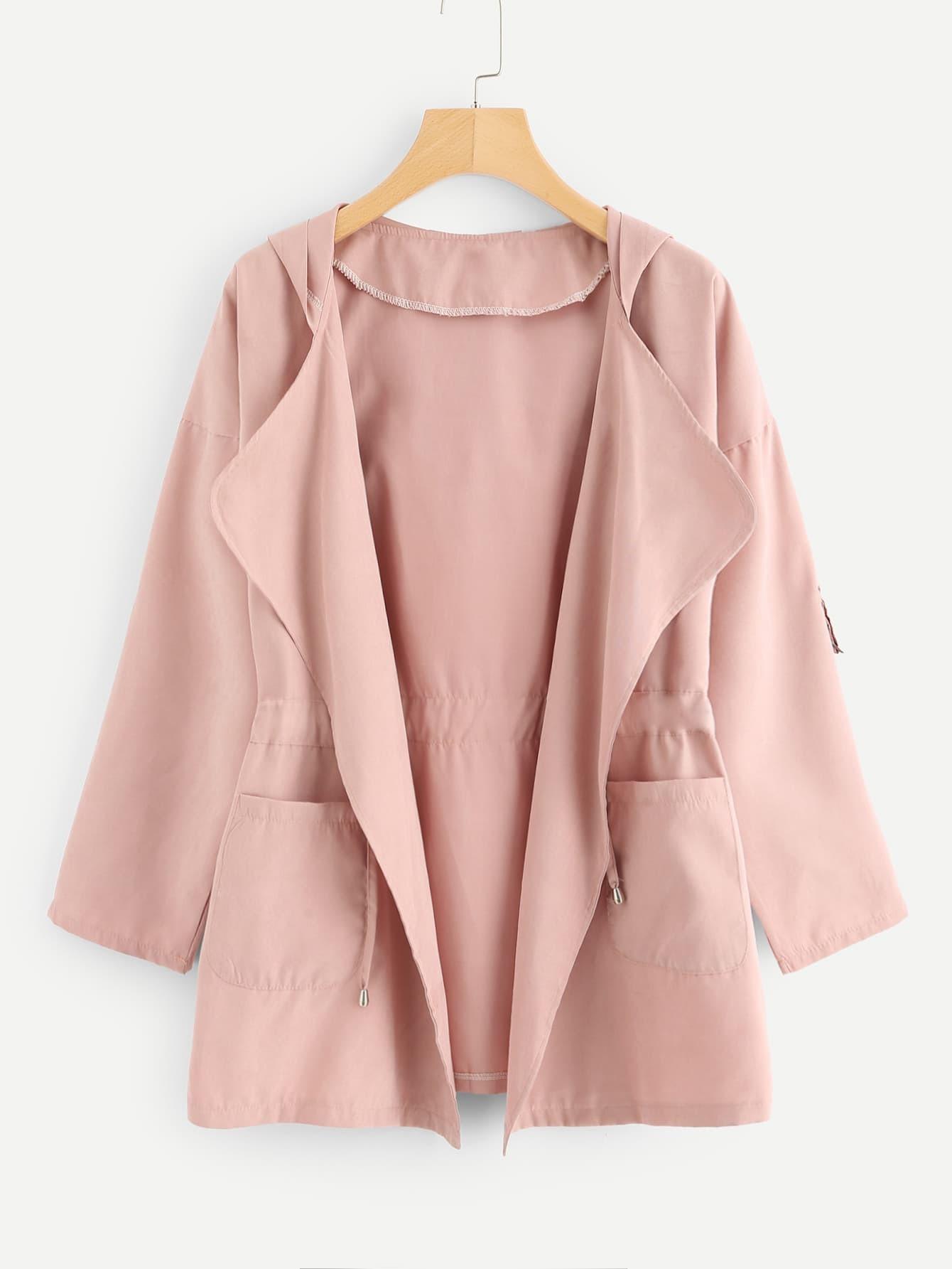 Dual Pocket Drawstring Waist Hooded Coat