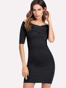 Cross Front Bardot Bodycon Dress