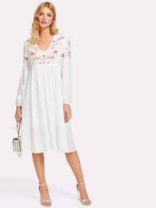 Empire Waist Flower Embroidered Dress