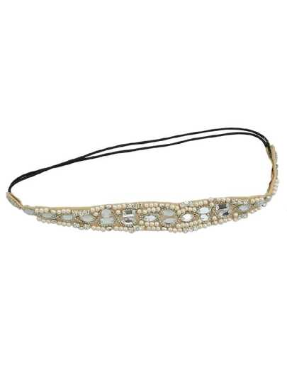 White Pearl Rhinestone Lace Hairband