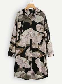Single Breasted Printed Shirt Dress