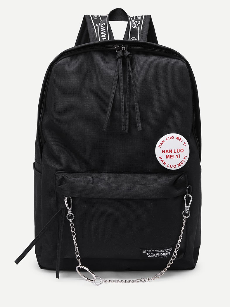 Chain Detail Front Pocket Backpack