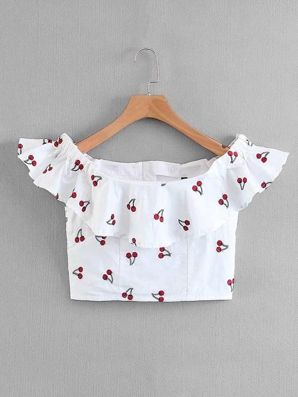 Cherry Print Flounce Crop Top