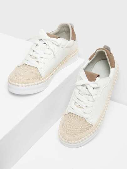 Two Tone Round Toe Lace Up Sneakers