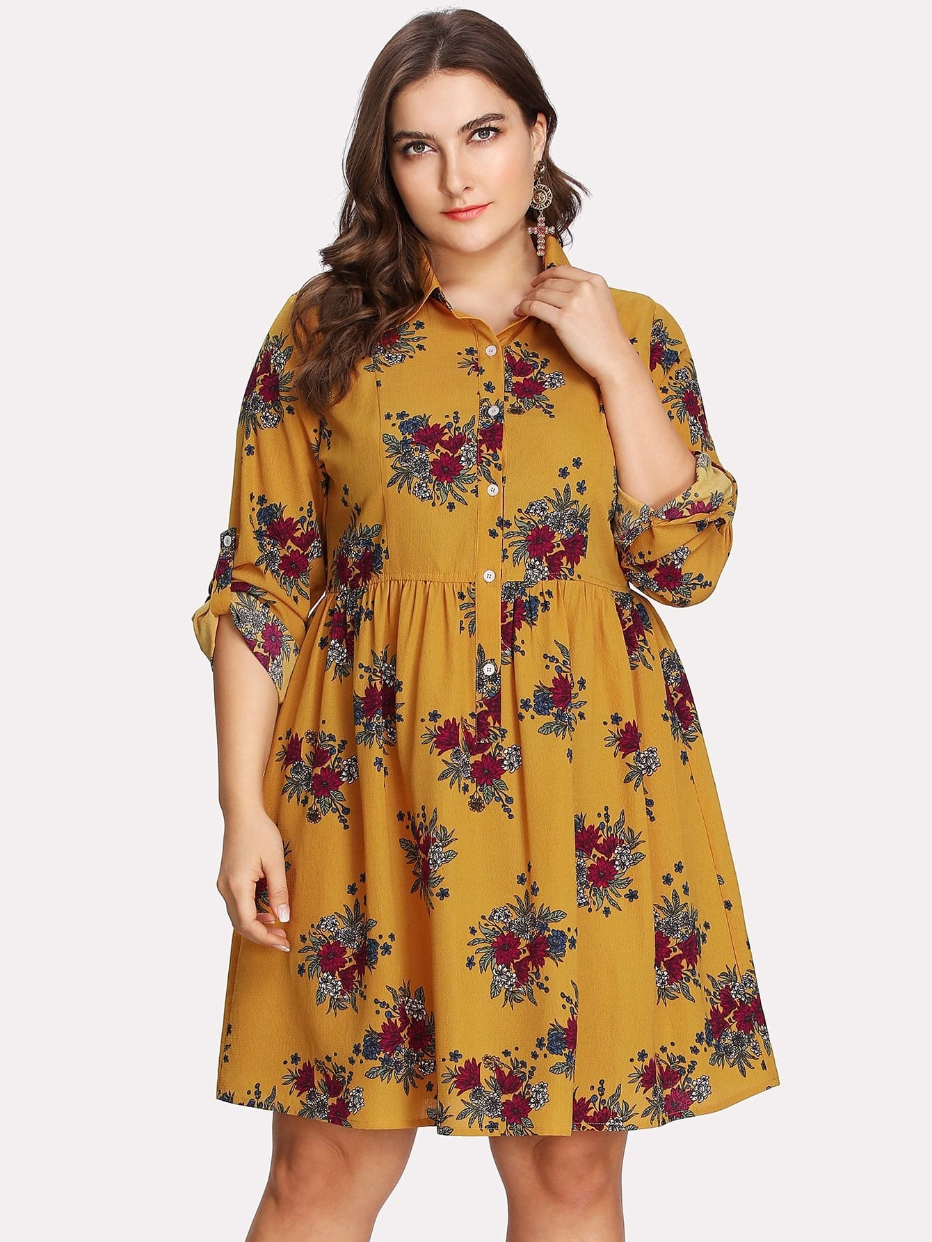 Fit And Flare Floral Shirt Dress zip back fit and flare splicing dress