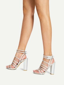 Buckle Detail Strappy Chunky Heels