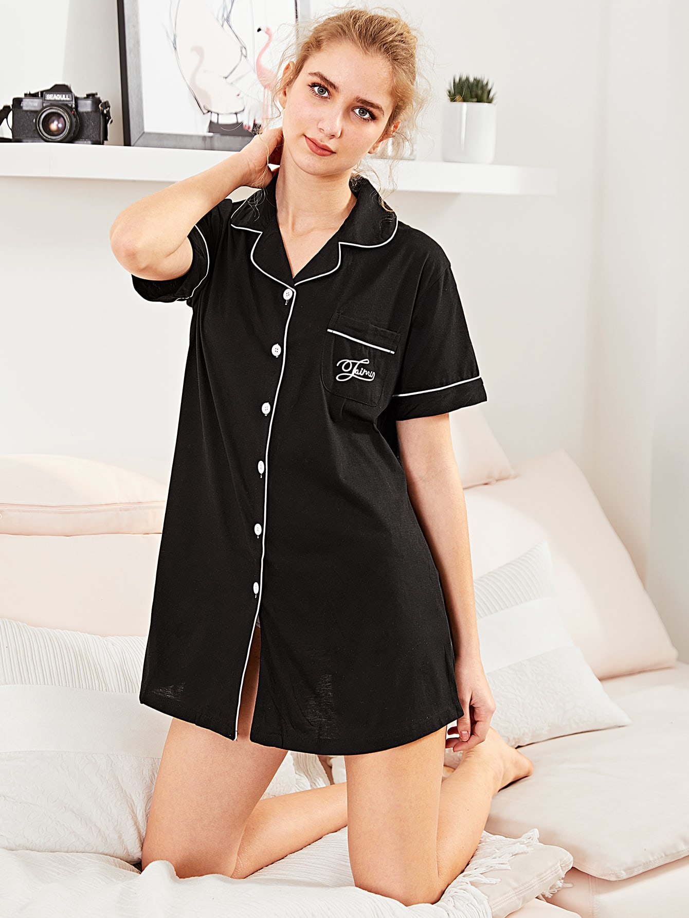 Contrast Binding Letter Embroidered Shirt Dress check plaid letter embroidered shirt dress