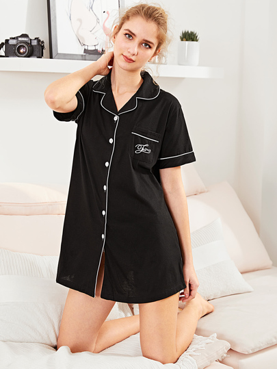 Contrast Binding Letter Embroidered Shirt Dress