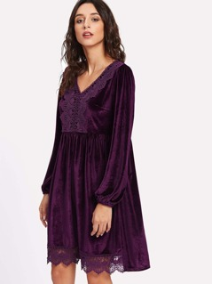 Bishop Sleeve Lace Applique Velvet Dress