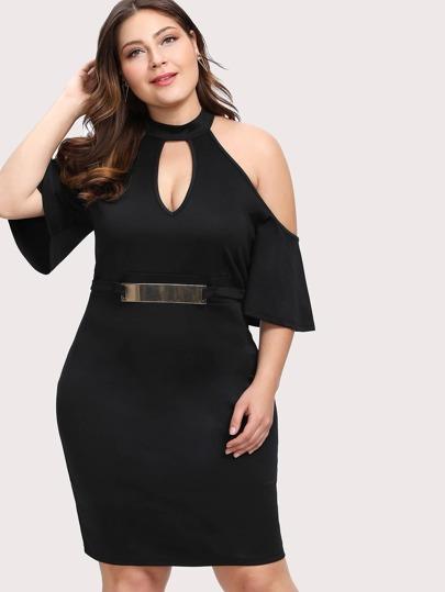 Keyhole Front Open Shoulder Metal Embellished Dress