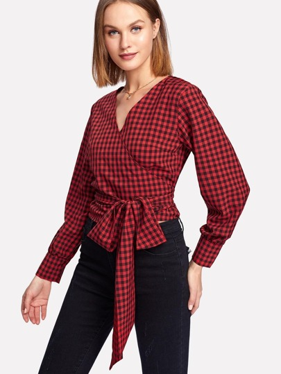 Surplice Wrap Tie Front Check Plaid Blouse
