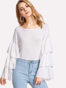 Boat Neck Tiered Sleeve Top