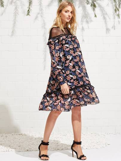 Mesh Yoke Frilled Detail Floral Dress