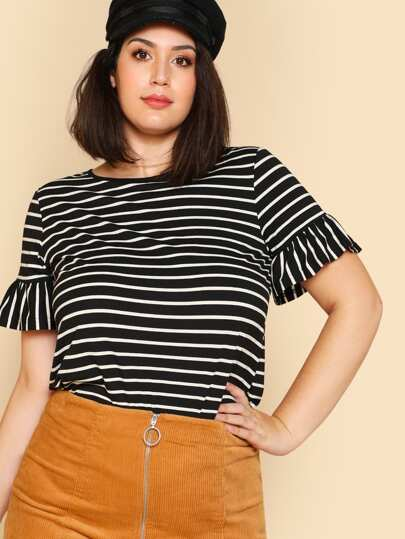 Ruffle Sleeve Striped T-shirt