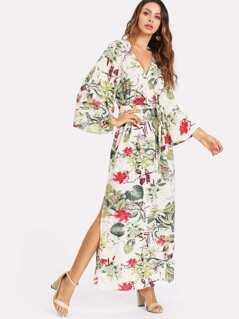 Tropical Print Split Side Belted Dress