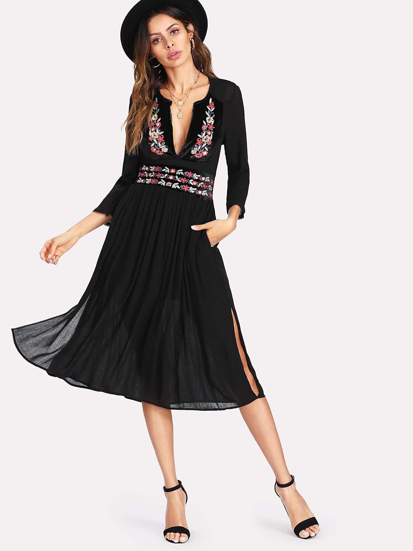 Side Slit Plunge Neckline Embroidered Dress dress180124205