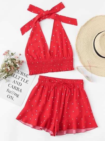 Shirred Polka Dot Halter Top & Shorts Co-Ord