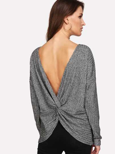 Twist Detail Open Back Slub Jumper