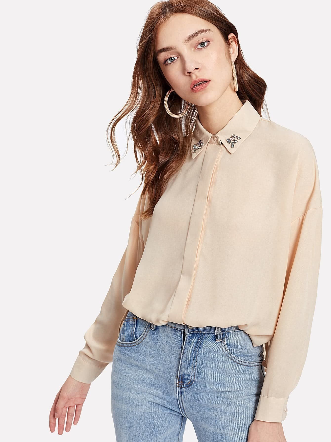 Faux Crystal Rhinestones Beaded Drop Shoulder Shirt