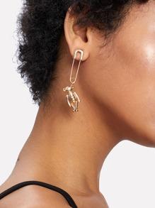 Bear & Paper Clip Design Drop Earring 1pc
