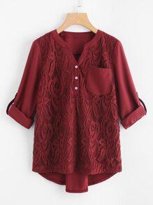 Dip Hem Chest Pocket Lace Top
