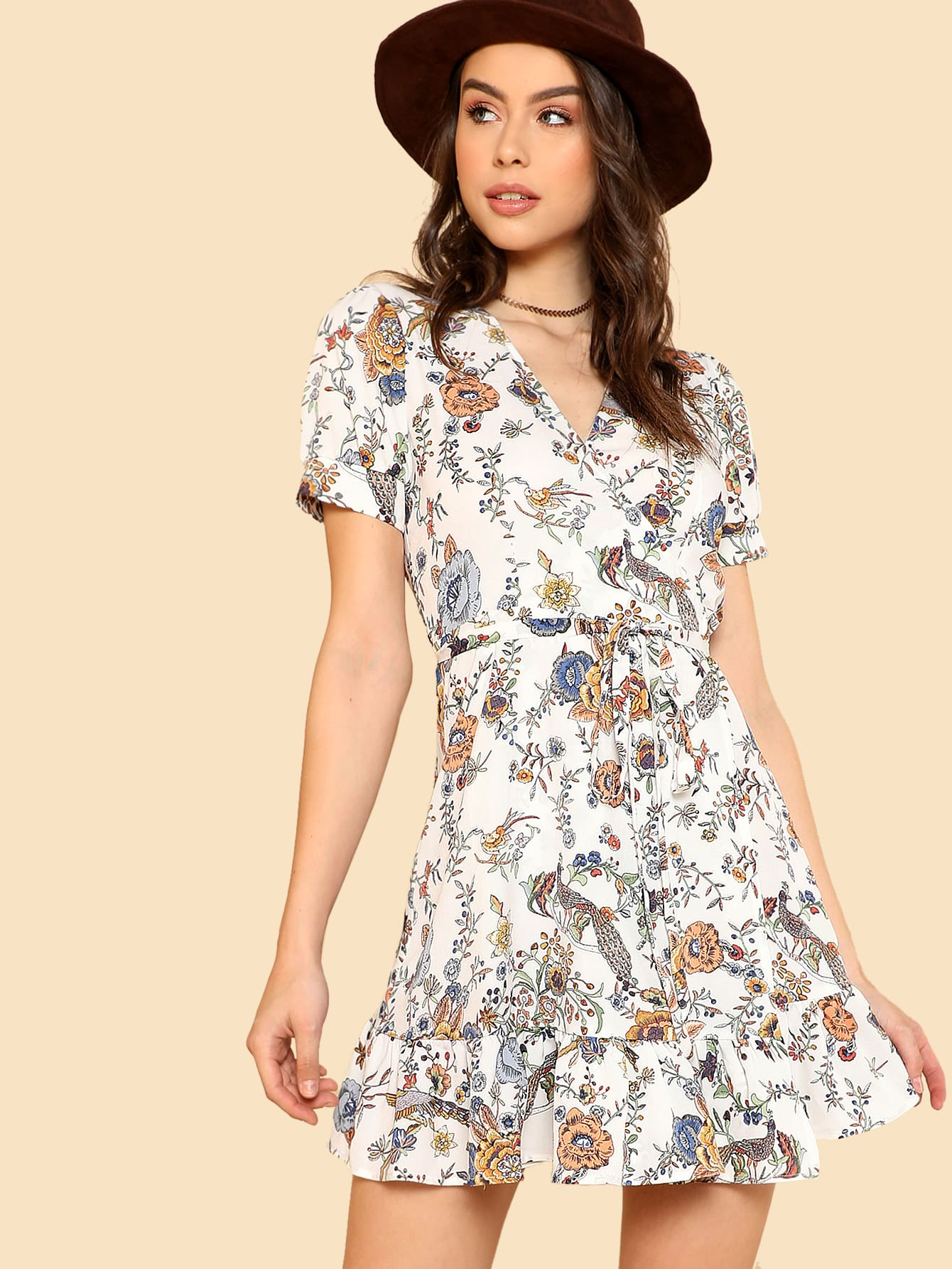 Knot Side Ruffle Hem Floral Dress рубашка lonsdale lonsdale lo789emjnp35