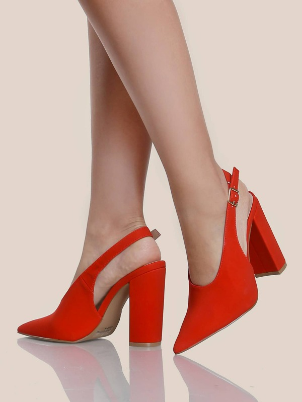 Slingback Block Heel Pumps RED -SheIn(Sheinside)